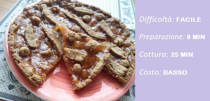 crostata frolla integrale con confettura di albicocche
